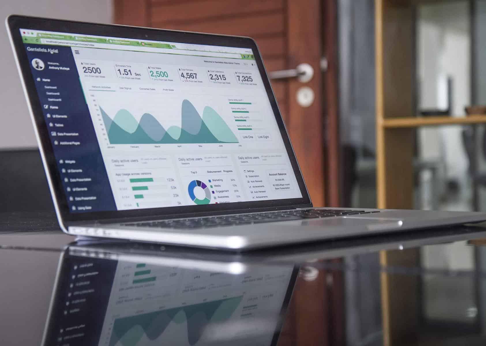 Das Foto zeigt unterschiedliche Datenanalysen auf einem Notebook. Usability KPIs und UX KPIs sind wichtige Faktoren bei einer allumfassenden User Research Photo by Carlos Muza on Unsplash